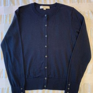 Loft Navy Front-Buttoned Cardigan